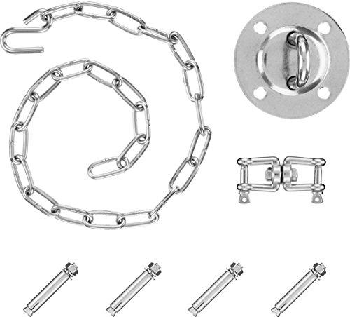 Purovi® Komplett Set für Hängesessel Befestigung | Halterung inkl. Drehbarer Schäkel mit bis zu 300kg Tragkraft